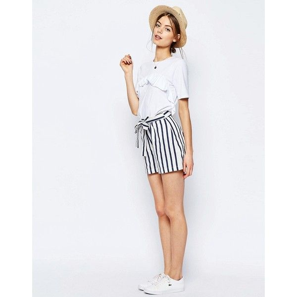 ASOS Linen Stripe Shorts with Tie Belt (€38) ❤ liked on Polyvore featuring shorts, multi, asos, high waisted shorts, high-rise shorts, highwaist shorts and tall shorts
