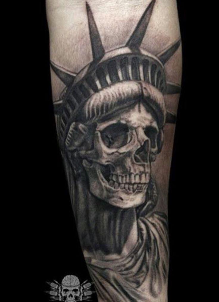 Liberty Death Statue skull tattoo