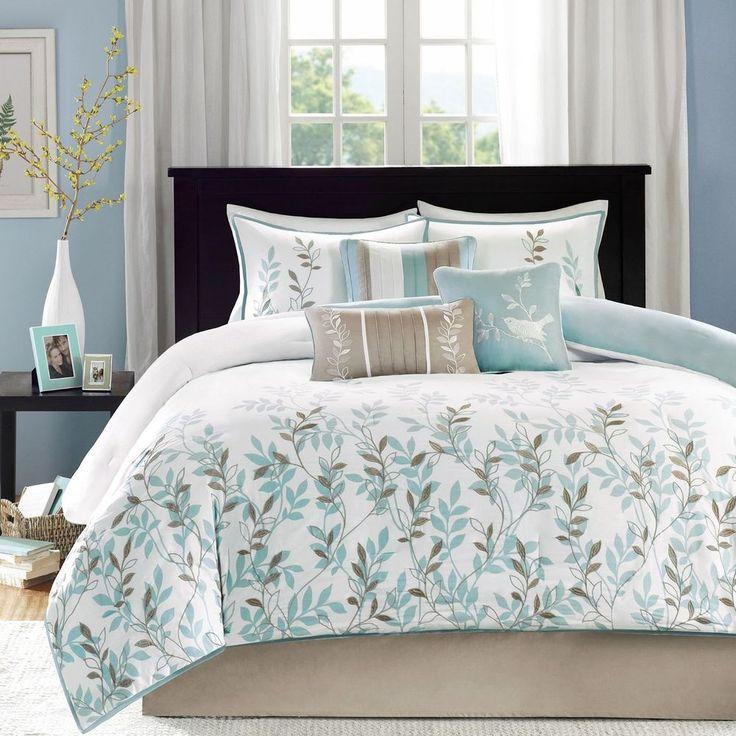 madison park 7piece meadow comforter set king blue misc