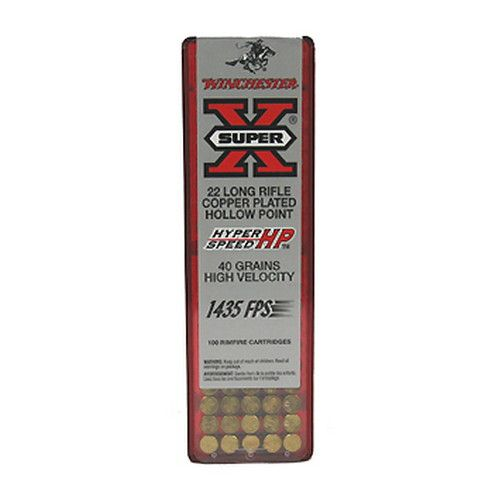 The new Winchester Hyper Speed HP™ .22 LR features a 40-grain, plated hollow point bullet, with a muzzle velocity of 1,435 feet per second (fps). This load provides plenty of punch for improved penetration on small game and pests. This round is also designed to provide consistent hunting accuracy and small game stopping power. #ammo #SaffordTradingCompany