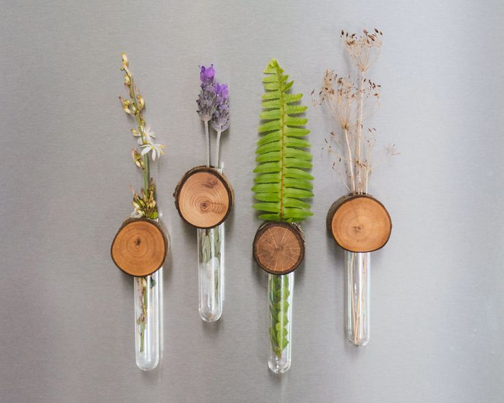 I work a lot with wood that I find lying around and in my aim to be able to use every part of a tree I came up with this product: magnetic stem vases! These serve the dual purpose of (literally) livening up your fridge whilst displaying the beautiful growth rings of the wood. To accompany these I will be making little wood slice magnets.