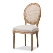 Baxton Studio Adelia French Vintage Cottage Weathered Oak Finish Wood and Beige Fabric Upholstered Dining Side Chair with Round Cane Back Baxton Studio restaurant furniture, hotel furniture, commercial furniture, wholesale dining room furniture, wholesale dining room chairs, classic dining chairs