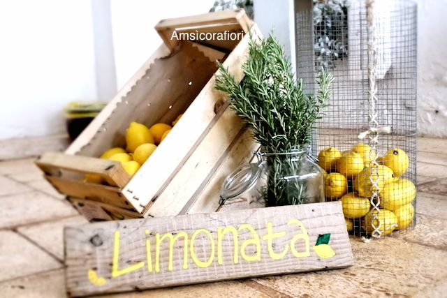 Amsicora - Decorazione matrimonio per tavolo limonata, tema limoni - lemonade corner decoration, rustic wedding, lemon wedding theme, yellow wedding