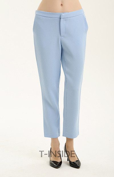 T-Inside Women Pants Ankle Length Light Blue Quality with Pockets Wear to Work Casual Women's Straight Trousers Brand New