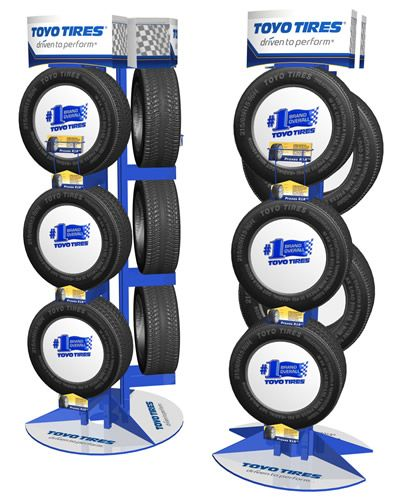 tire display | Large image of a custom end cap wire display stand for car tires for ...