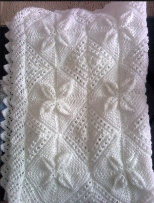 Hand Knitted Baby Blanket With Lacey Edging