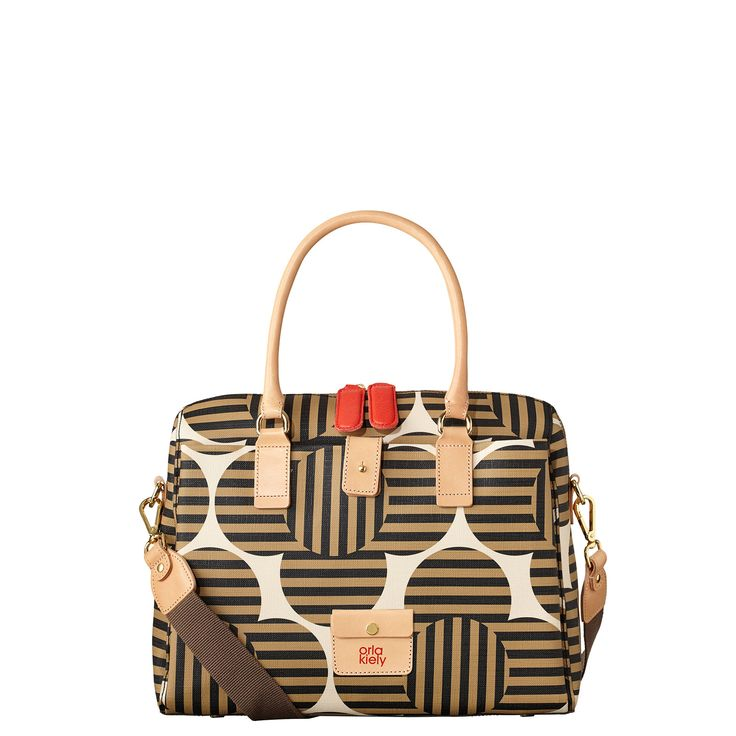 Orla Kiely: 'Optical Flower' print textured vinyl bag outside pleat pocket details, all leather trims and small logo leather pocket detail to front. Leather handles. Zip to close. Gold coloured hardware. Inside details include jacquard lining, small zip pocket, key chain and mobile pocket. Includes an adjustable, detachable webbing strap so that the bag can be worn across the body (max 110cm).