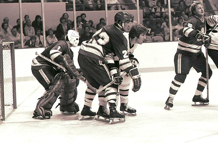 North Stars vs Bruins Lou Nanne, Dennis O'Brien, Terry O