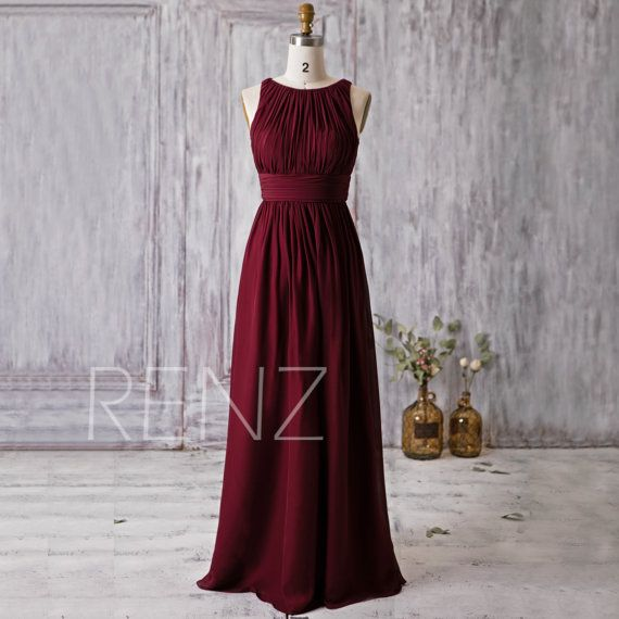 2016 Wine Red Bridesmaid Dress Scoop Neck Wedding von RenzRags