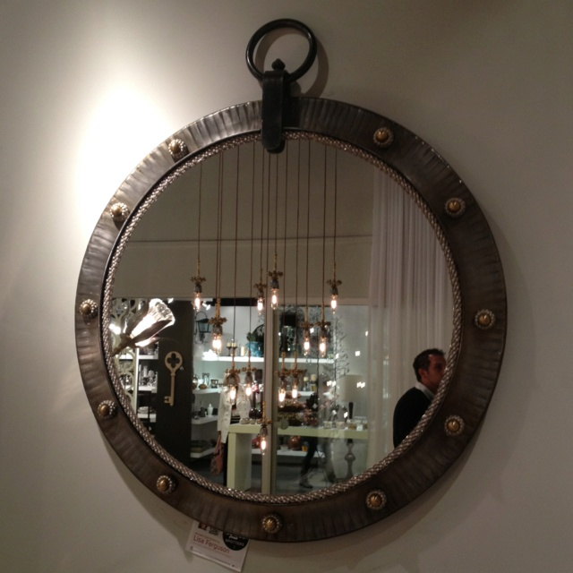 Fab industrial mirror glammed up at Luna Bella in Interhall