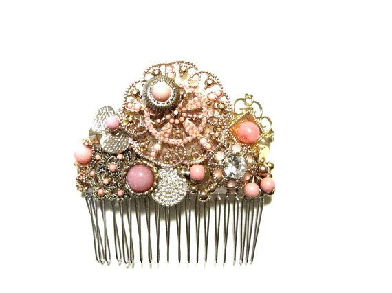 Pastel Coral Bridal Comb Golden Beaded Victorian by recreated1
