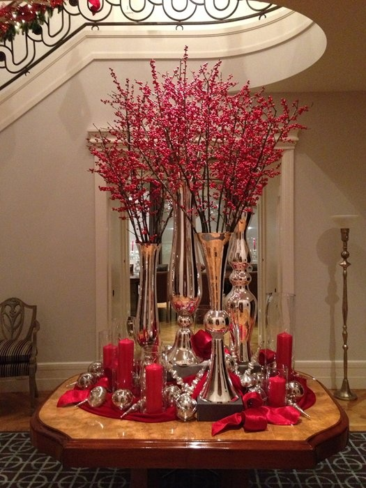 Mercury Vases With Ilex Berries Tall Centerpieceholiday