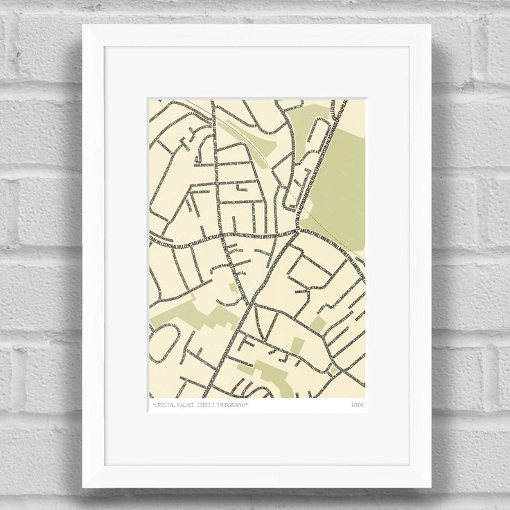 Crystal Palace Street Typography Map Art Poster Print White Frame