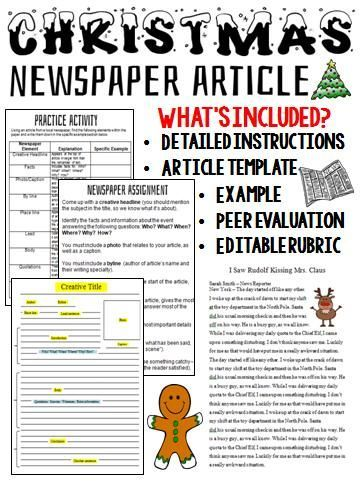 Have your students create a Christmas story while at the same time, learning the proper format of a newspaper article. This would be a great addition to any creative writing unit scheduled around the holiday season.