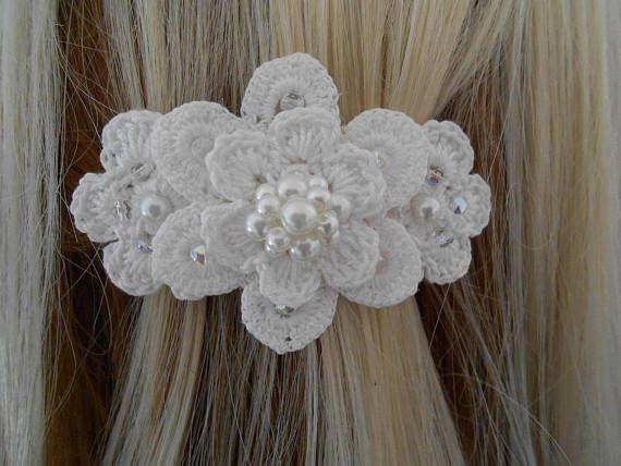 barrettes cheveux originales au crochetmariage/cheveux clips