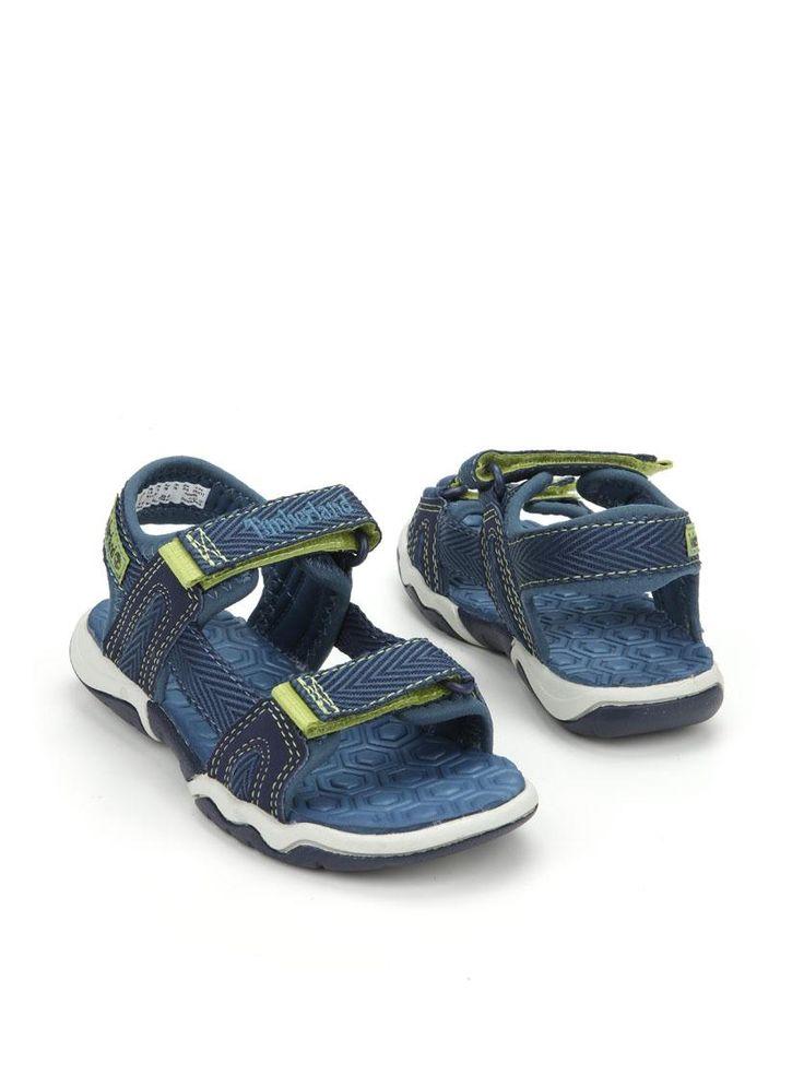 Timberland sandaal  Description: Stoere blauwe Timberland sandalen met lime groene details. De schoenen zijn gemaakt van textiel en voorzien van een dubbele klittenband sluiting.  Price: 31.49  Meer informatie