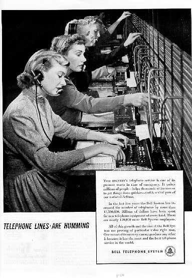 Telephone lines are humming...I liked working the switchboard!