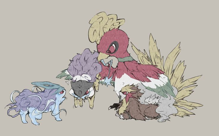 (Day 5) Legendary Pokemon faves that I'm going with are the Johto ones: Ho-Oh, Entei, Suicune, and Raiku. These legendaries were the first pokemon that I REALLY had to work for (aside from CERTAIN pokemon in the Safari Zone in Pokemon RED!!!!) so they hold more of a place in my <3