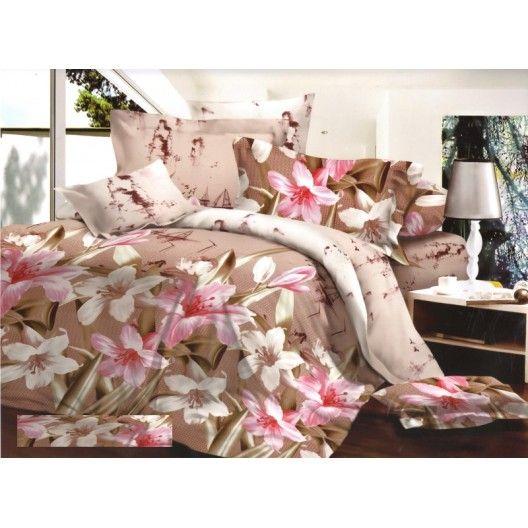 Béžové posteľné obliečky farebné kvety