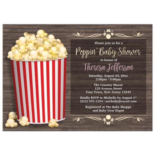 Popcorn themed gender neutral baby shower invitations with an illustrated popcorn bucket filled to the top with popcorn. This red-striped bucket is over a rustic brown wood pattern background design. Your details are printed in white, yellow, and pink over a darker screen-like area of the wood pattern. Provide the wording you need for your Poppin' Baby Shower celebration. These cute popcorn baby shower invitations are gender neutral with their yellow, red, and brown color scheme, with a…