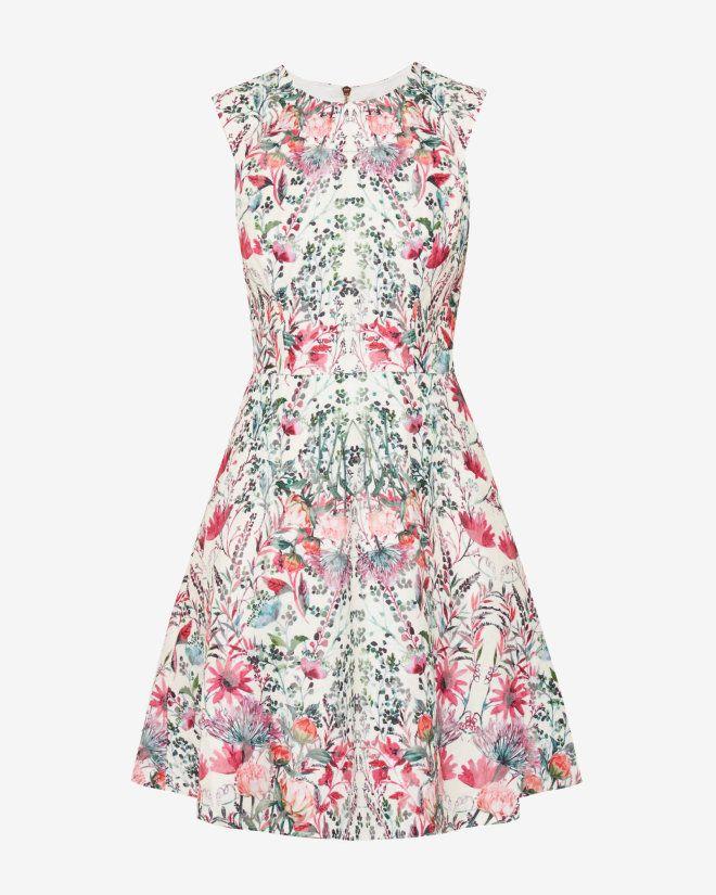 Ted Baker at HoF? £189 Layered Bouquet skater dress - Cream | Dresses | Ted Baker UK