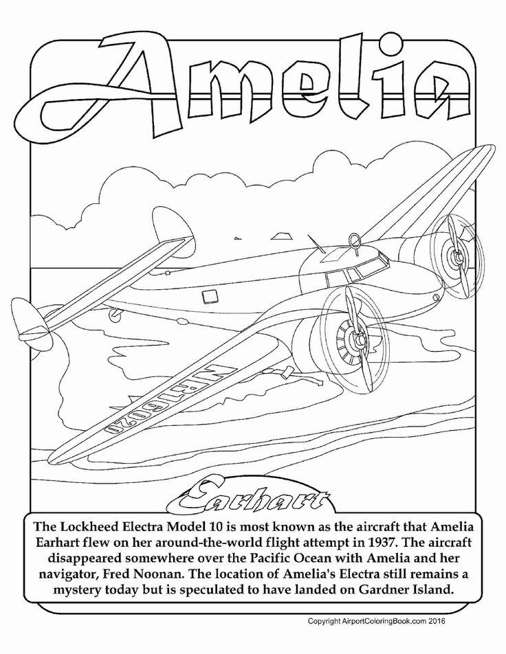 Amelia earhart coloring page lovely amelia earhart
