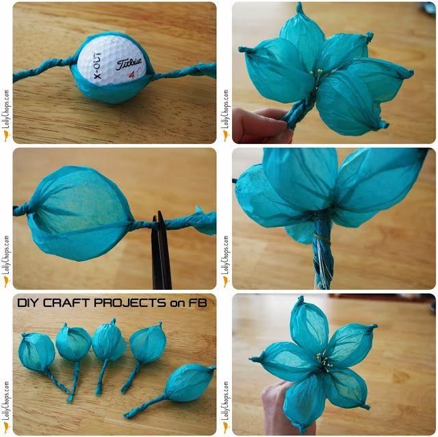 DIY Tissue Flowers Using Golf Ball
