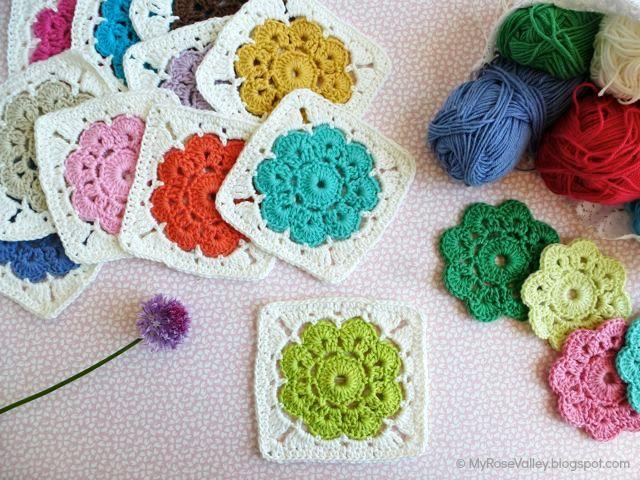 Crochet Flower Square - Tutorial ❥ 4U // hf