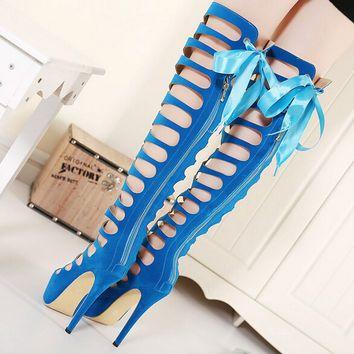 Thigh High Gladiator Sandals Peep Toe Cut out  High Heel