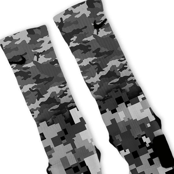 Combat Mixed Grey Camo Custom Nike Elite Socks – Fresh Elites