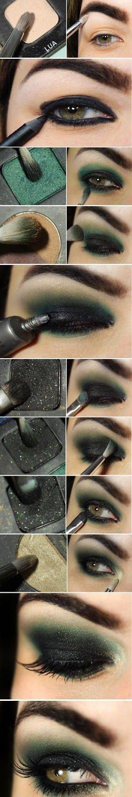deep green eyes- good for Halloween makeup