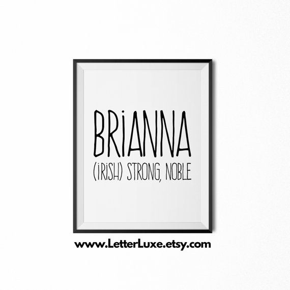Brianna Name Meaning Art  Printable Baby by LetterLuxePrintables