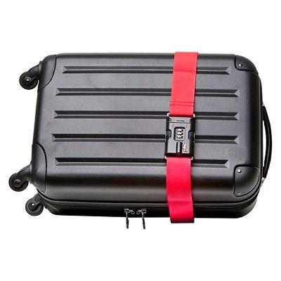 Safe Skies Tsa Locking Luggage Straps, Red