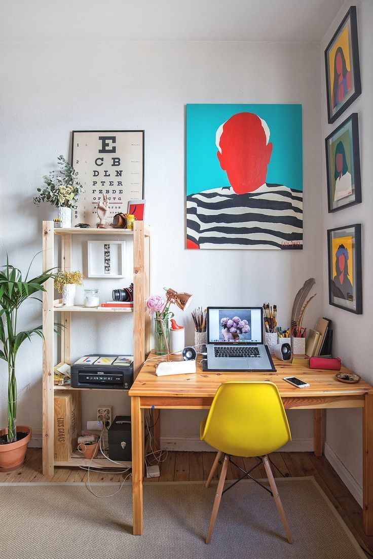 A Painter S Colorful Art Complements Her Stunning Small Spanish Studio Art Studio At Home Apartment Therapy Small Spaces Small Art Studio