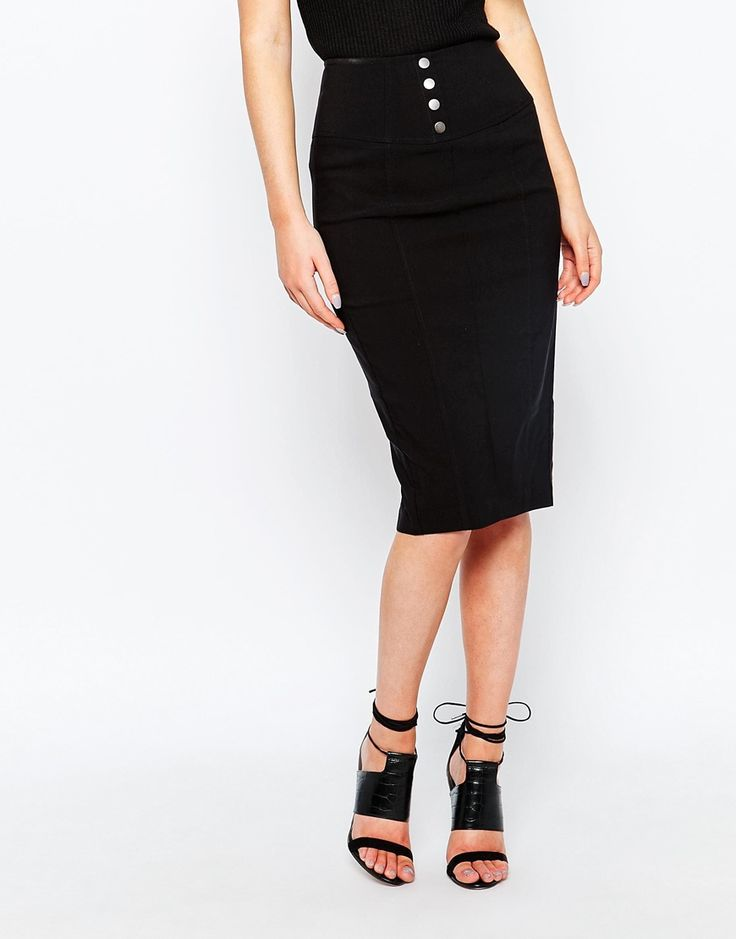 Image 4 of New Look Button Pencil Skirt