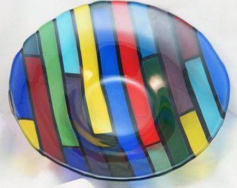 Ciotola di vetro fuso look retrò di ShimmeringGlass su Etsy