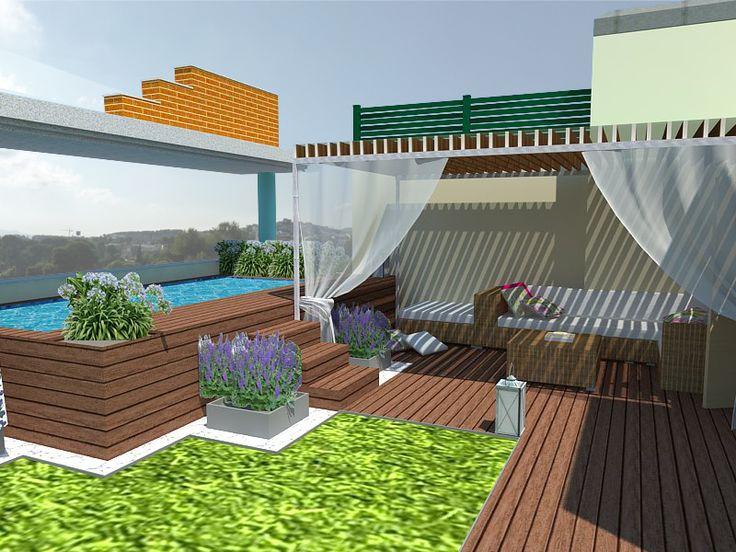 Ideas de paisajismo de piscina porche terraza estilo for Paisajismo para piscinas