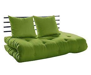 Divano/futon in pino e cotone Shin Sano lime - 100x140x70 cm