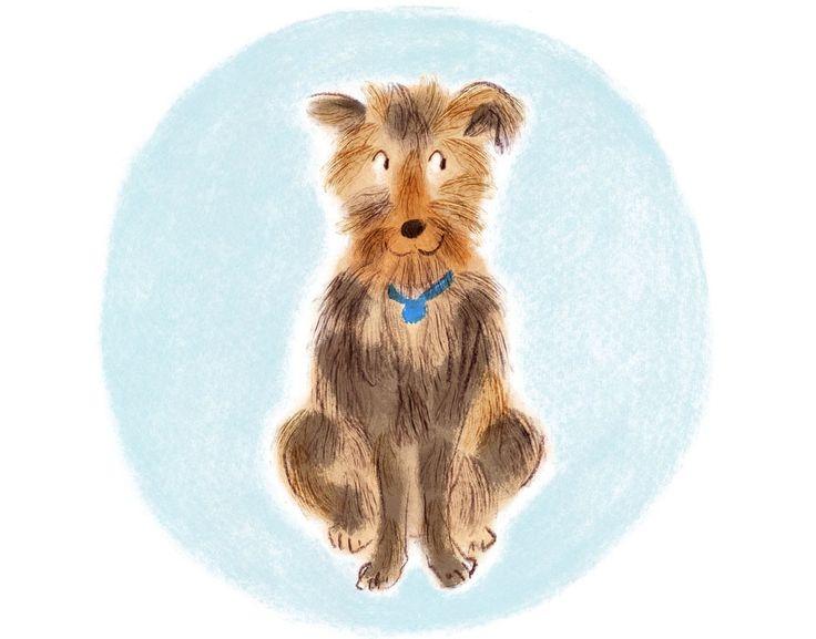 Dog illustration pastel, crayon
