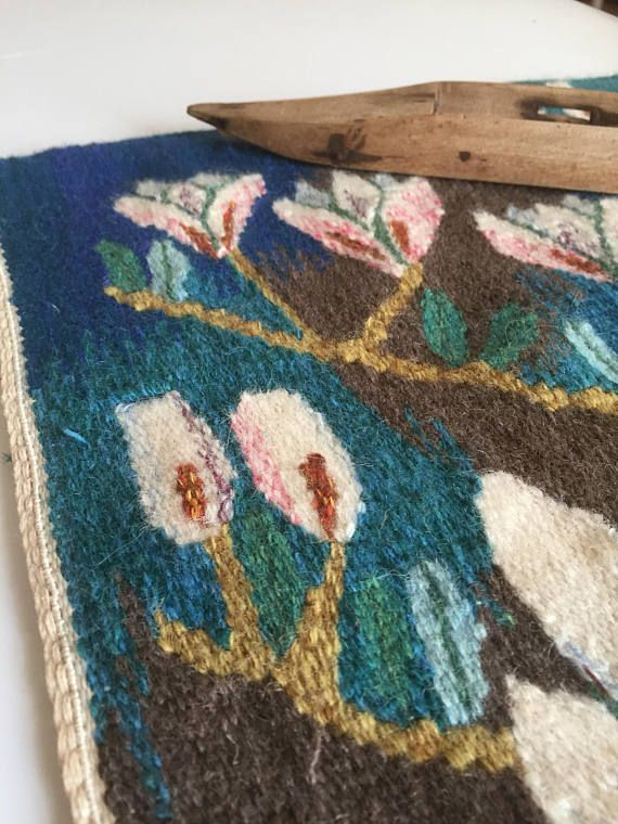 Wall hanging/handwoven/flemish/wool/flemish/flowers