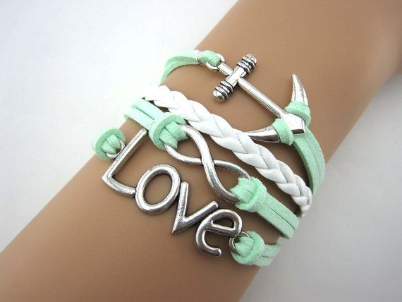 Mint green anchor ring braceletinfinity by Bigredbigpurple on Etsy, $7.99
