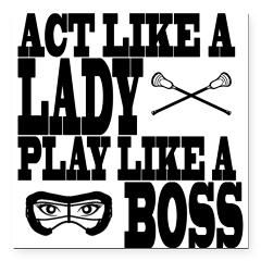 "Lacrosse LadyBoss Square Car Magnet 3"" x 3""> Lacrosse LadyBoss> YouGotThat.com"