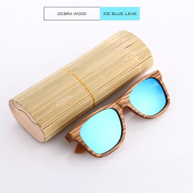 wooden eyewear zebra wood sunglasses with blue lens ws10017 - Wooden Frame Sunglasses