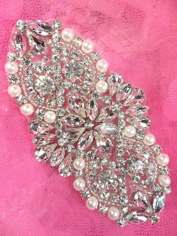 "XR232 Bridal Motif Silver Crystal Clear Rhinestone Applique w/ Pearls 3.5"" (XR232-slcrp) on Etsy, $16.99"