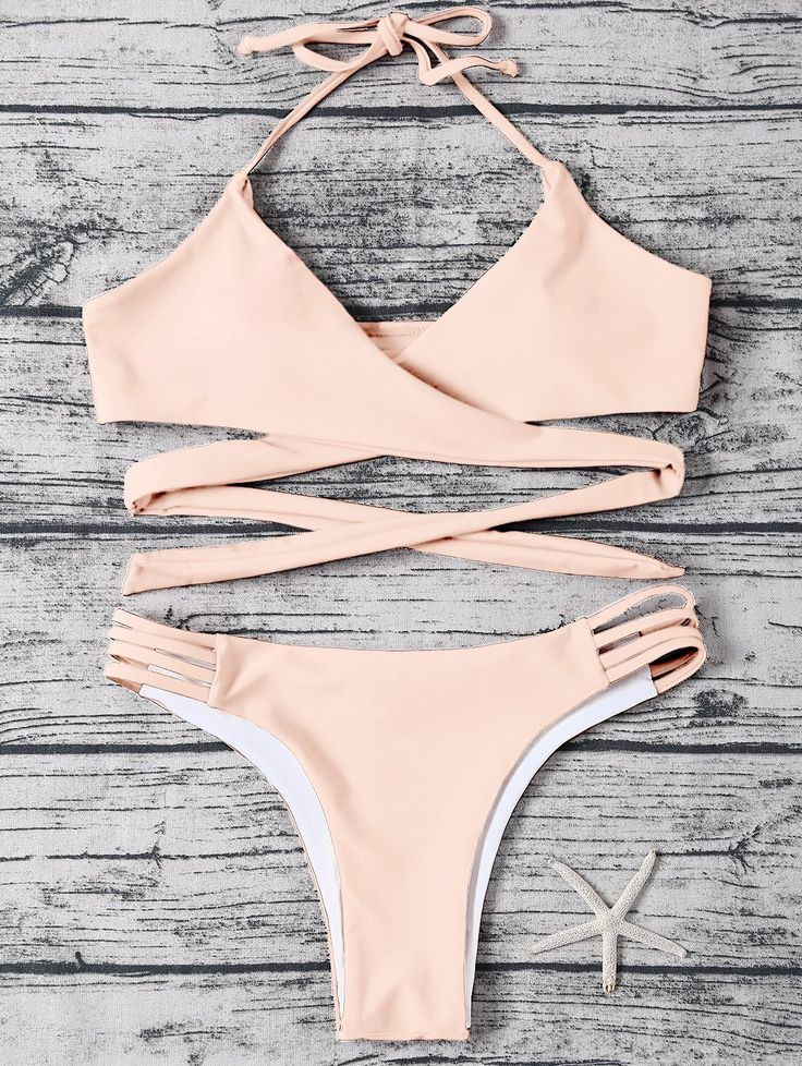 Bikinis   Light apricot pink Strappy Wrap Halter Bikini Set - Gamiss