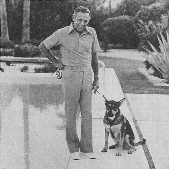 Bill and pooch at his home in California.