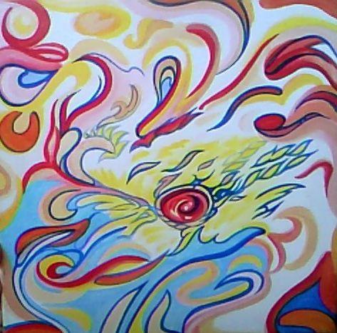 """Acrylics """"The Dragon"""" 14 x 14"""""""