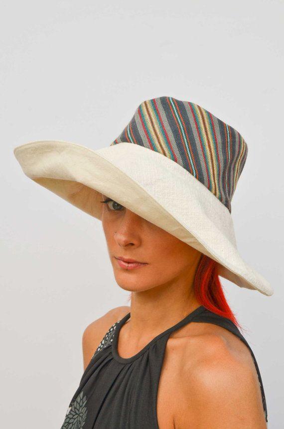 Wide brim cream hat summer hat floppy hat by VictoriaGraceClothes