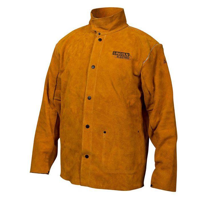 Heavy Duty XX-Large Leather Welding Jacket, Size: XXL, Brown Leather