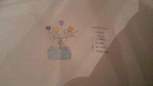 Het bloemstuk voor mijn presentatie